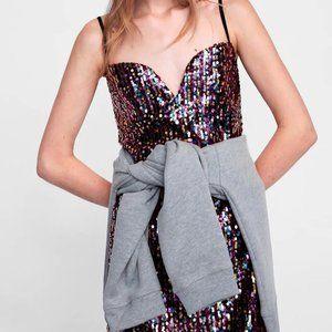 NWOT Zara multicoloured sequin mini dress, Size L